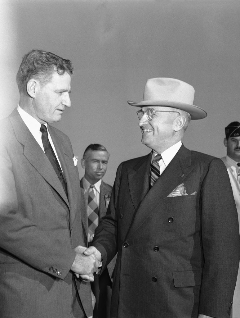 Florida Gov. Millard Caldwell (L) welcomes President Truman to Everglades City, Fla. on Dec. 6, 1947, for the formal dedication of the Everglades National Park. (AP Photo)