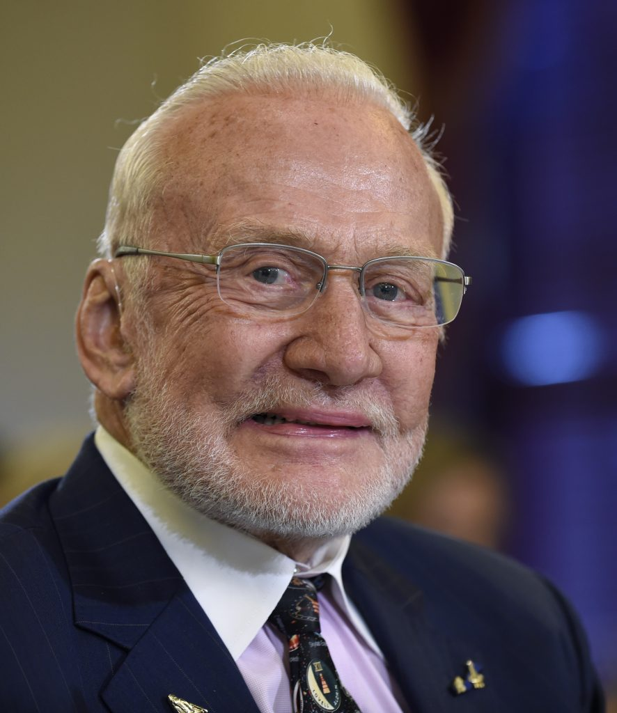 In this February 2015 photo, Buzz Aldrin arrives on Capitol Hill to testify before the Senate subcommittee on Space, Science, and Competitiveness hearing on human exploration goals and commercial space competitiveness. (AP Photo/Susan Walsh)