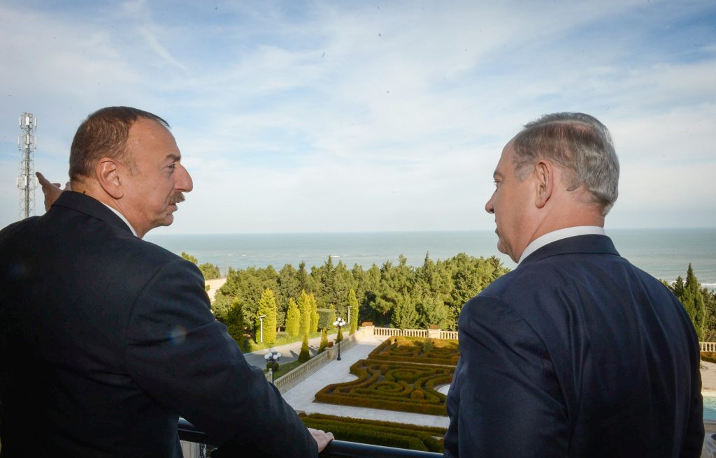 Prime Minister Binyamin Netanyahu meets with the president of Azerbaijan, Ilham Heydar Oghlu Aliyev, in Baku, on Tuesday. (Haim Zach/GPO)