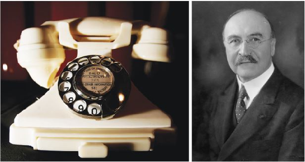 (L) A Bakelite telephone at the Science Museum in London. (R) Leo Hendrick Baekelan.(Bruno Vincent/Getty Images, Edgar Fahs Smith Memorial Collection, The University of Pennsylvania Libraries.)