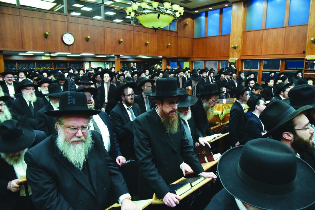 "At the levaya of Rebbetzin Miriam Salomon, A""h. (Yakov Leitner/JDN)"