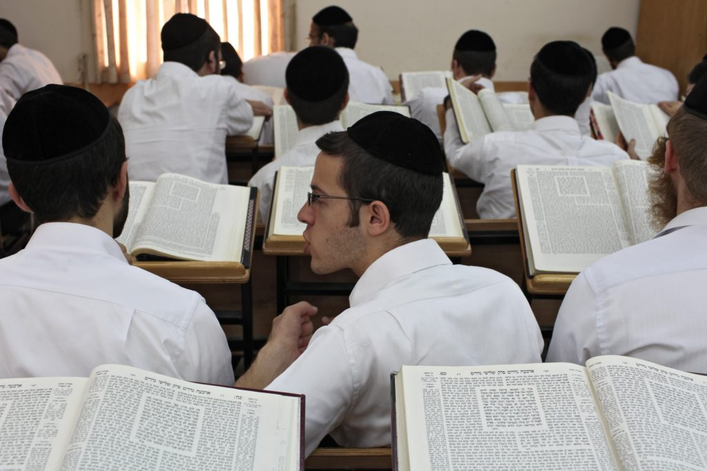 ultra orthodox Jews study at a Yeshiva in the settlment of Modiin Illit were they sit in a caravan and are looking forward for the day funds will be available to build a building for them. Oct 19 2009. Photo by Nati Shohat/Flash90 *** Local Caption *** ??????? ???? ???? ??????? ????? ????? ????? ???? ??? ????