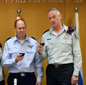 "Israeli Minister of Defense Moshe ""Boogie"" Ya'alon (L), IDF Chief of Staff Benny Gantz (R), Maj. Gen. Orna Barbivai (2L) and incoming head of the IDF Manpower Directorate Hagai Topolanski seen at a ceremony at the Ministry of Defense in Tel Aviv, where Topolanski receives the rank of major general, replacing Barbivai. September 08, 2014. Photo by IDF Spokesperson/FLASH90"