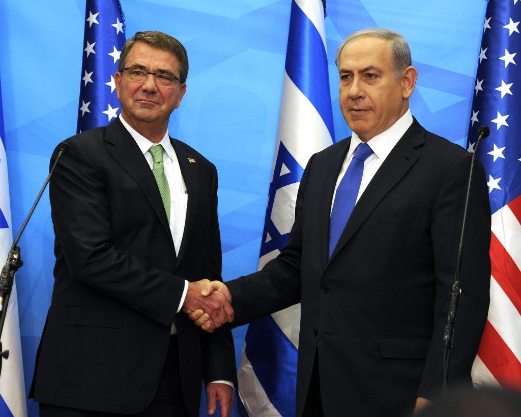 FILE - Prime Minister Binyamin Netanyahu meets with US Defense Secretary, Ashton Carter, in Yerushalayim, July 21. (David Azagury/Embassy Tel Aviv)