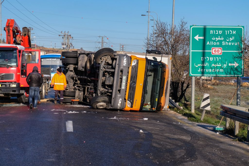 The scene of a January 2016 accident in Gush Etzion. (Gershon Elinson/Flash90)