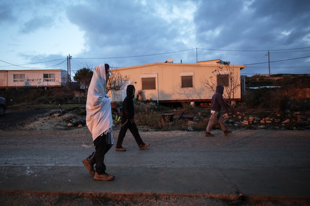 Early in the morning in the Jewish settlement of Amona in the West Bank, on December 18, 2016. Amona is an illegal Jewish settlement on private Palestinian owned land and is set to be evacuated. Amona residents voted against a peaceful evacuation. Photo by Miriam Alster/Flash90