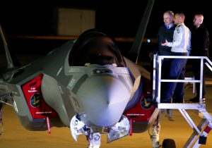 Israeli Prime Minister Binyamin Netanyahu looking at an F-35 fighter jet just after it landed at Nevatim air base. (Reuters/Amir Cohen)