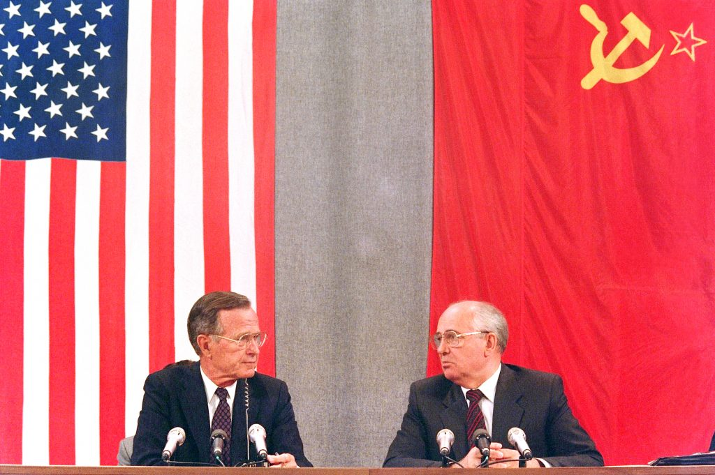 Former President George Bush (L) and his Soviet counterpart Mikhail Gorbachev during a press conference in Moscow concluding the two-day U.S.-Soviet Summit dedicated to disarmament, July 31, 1991. (Mike Fisher/AFP/Getty Images)