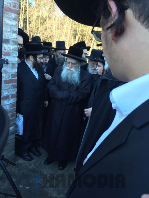 """The Pshevorsker Rebbe arrives to daven at the kever of his father,zy""""a, in in the Putte cemetery in Holland, just outside of Belgium. (JDN)"""