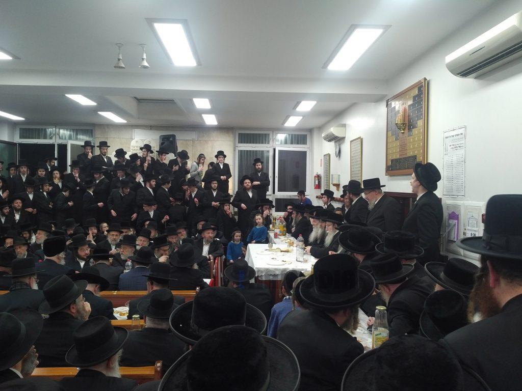 "The Pshevorkser Rebbe, shlita, speaks at the yahrtzeit tisch for his father, the Pshevorsker Rebbe, zy""a, 28 Cheshvan."