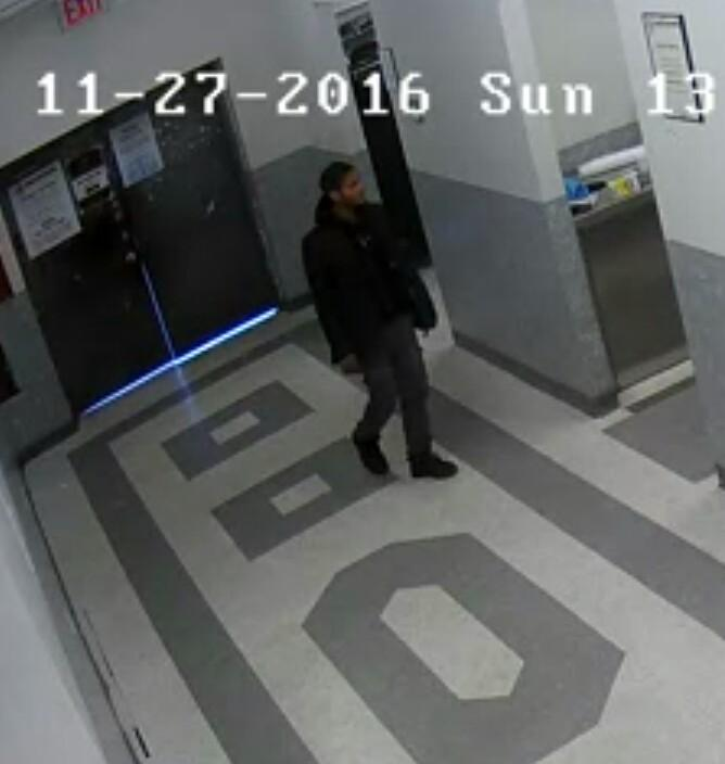 Surveillance-camera footage shows a man believed to be Joseph Raport entering the coffee room. (Boro Park Shomrim)