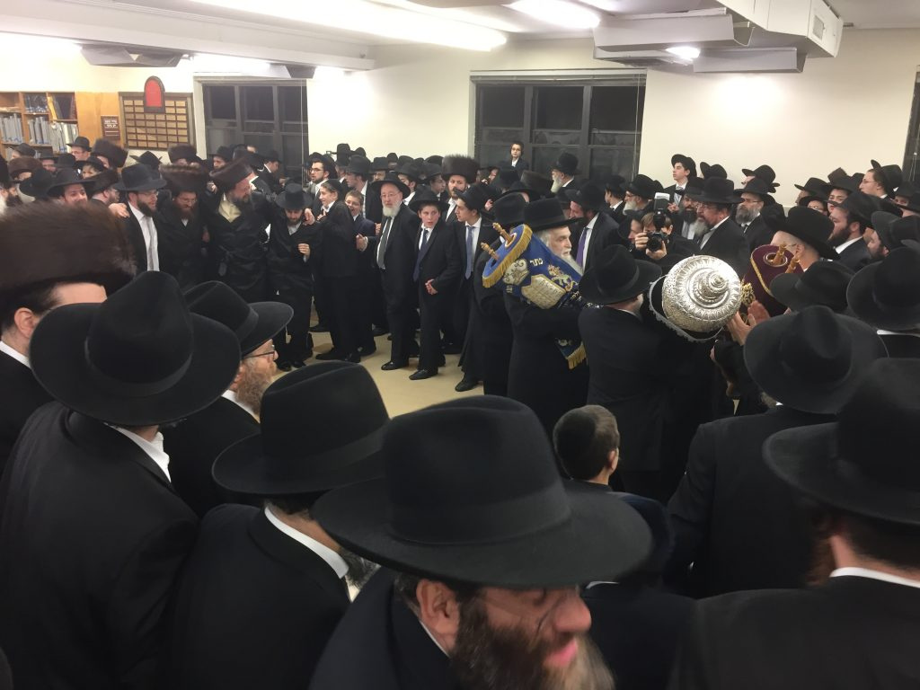 "A Hachnasas Sefer Torah was held at Yeshiva bais Hatalmud in Bensonhurst, Brooklyn on on Motzoei Shabbos. The Sefer Torah was donated by Mr. and Mrs. Steve Adelsberg, liluy nishmas Rabbi and Mrs Yona Bromberg, zt""l, and Rabbi and Mrs Moshe Aaron Brody, zt""l."