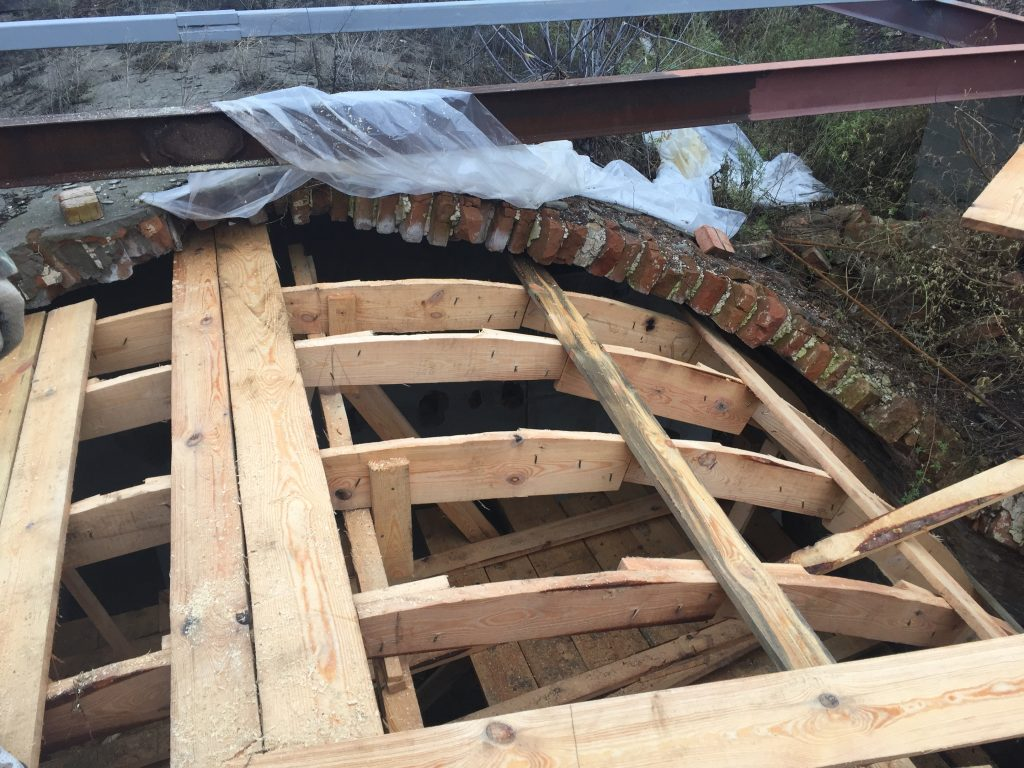 Restoring the roof of the shul.