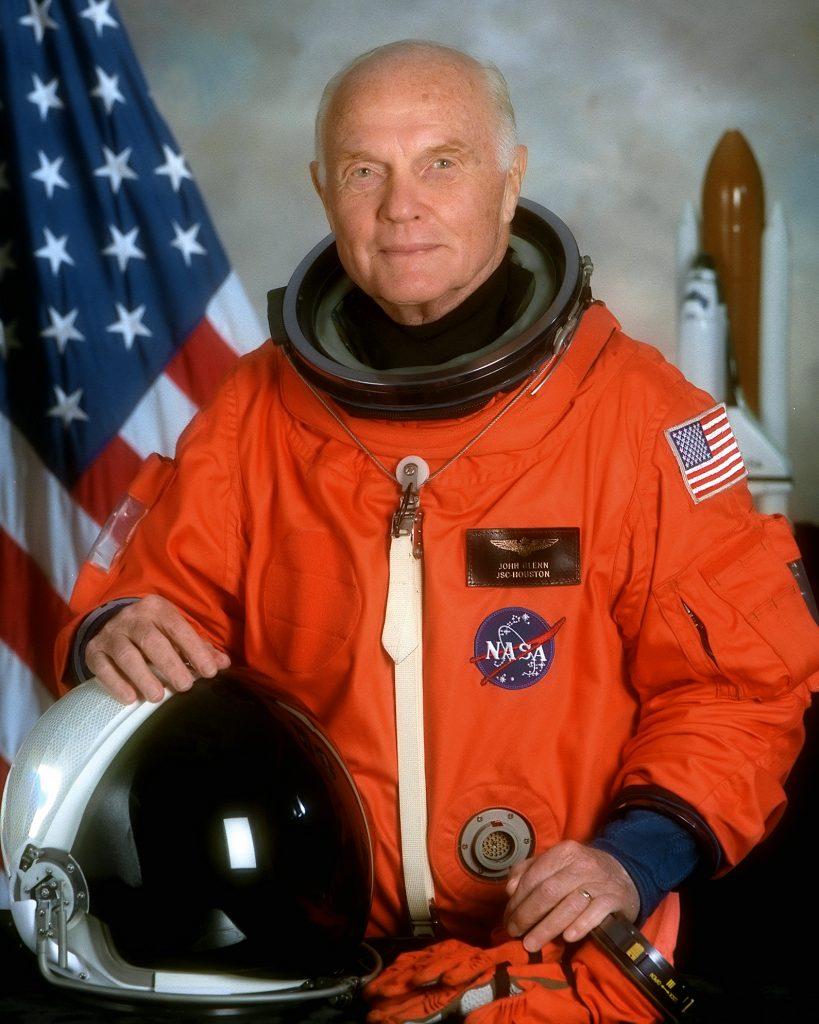 The official photo for John Glenn's second space flight on October 29, 1998.