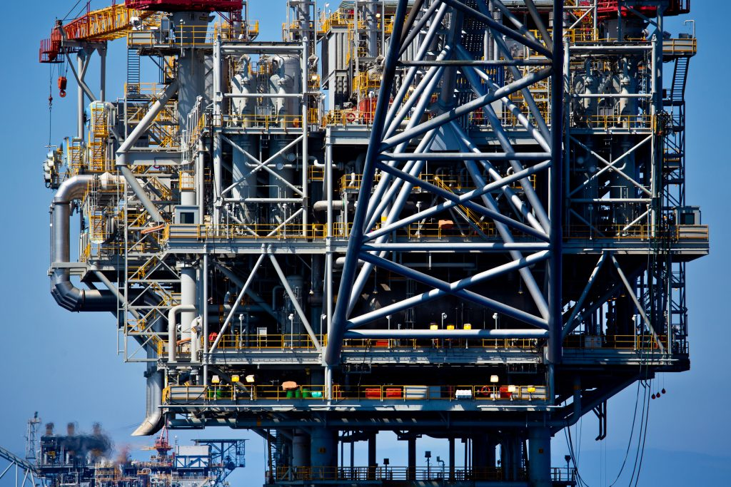 An offshore gas processing rig owned by Noble Energy and Delek Group. (Moshe Shai/Flash90)