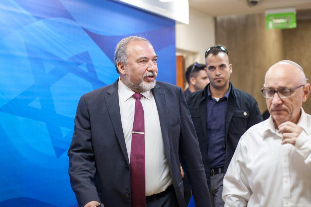 Israeli Defense Minister Avigdor Liberman (Emil Salman/Pool)