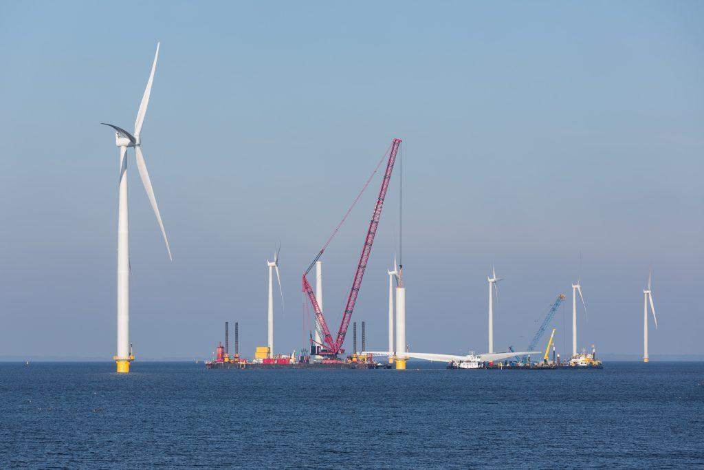 Construction of a new offshore wind farm near the Dutch coast.