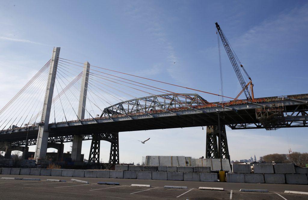 Construction on the Kosciuszko Bridge proceeds last month