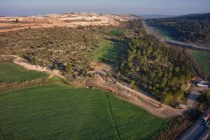 Aerial photographs of the ancient Roman road discovered near Beit Shemesh