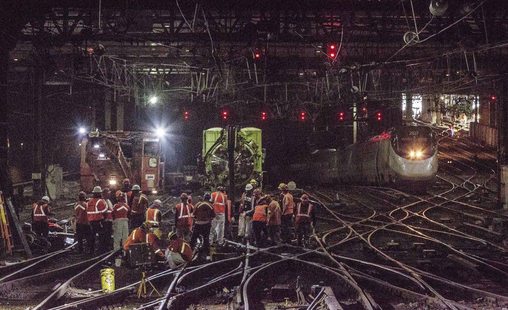 Penn Station, train, Amtrak, track, signal, repair