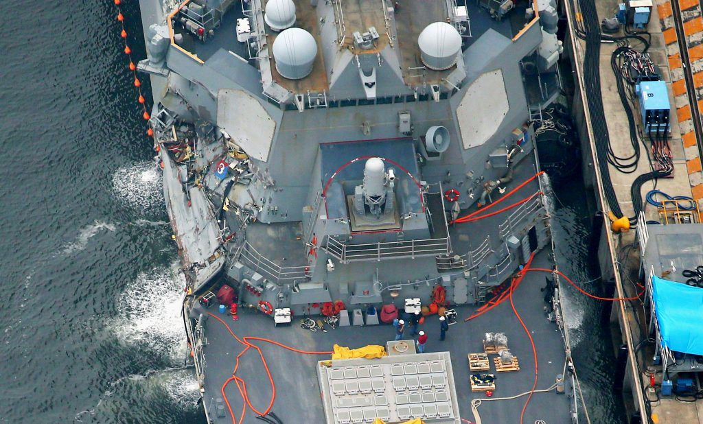 Investigators, Question, Navy Destroyer, Container Ship, Collided