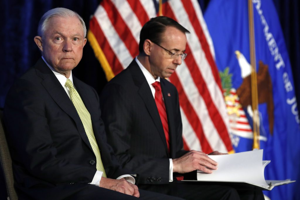Sessions Rosenstein, Justice Department Crime