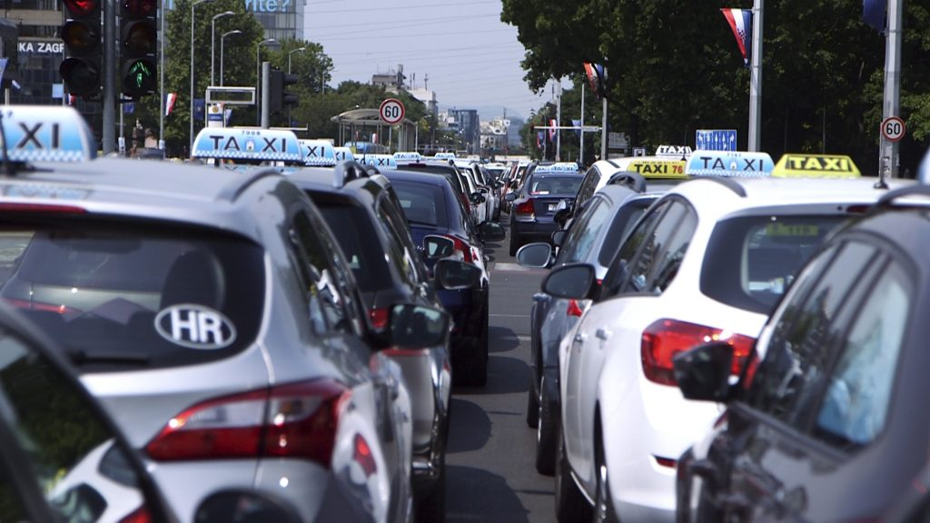 Croatian, Taxi Drivers, Protest, Against, Uber