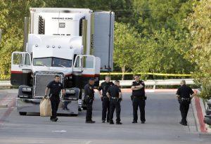 San Antonio migrants, migrants truck, San Antonio