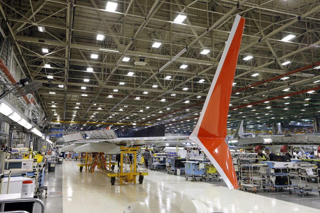 factory, manufacturing, Boeing, airplane, factory orders