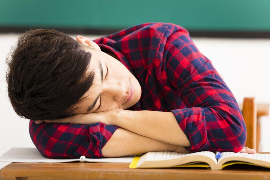 sleeping school tired student