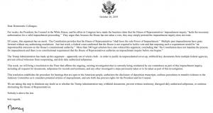 Letter Pelosi Impeachment Vote