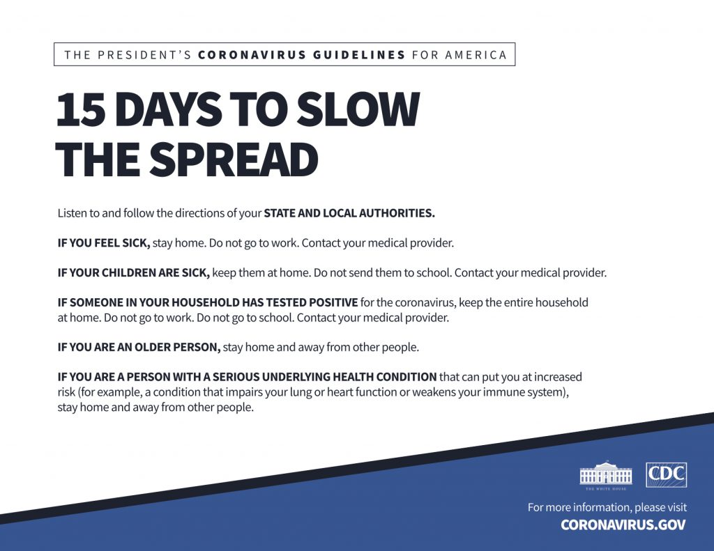 White House Coronavirus Guidelines