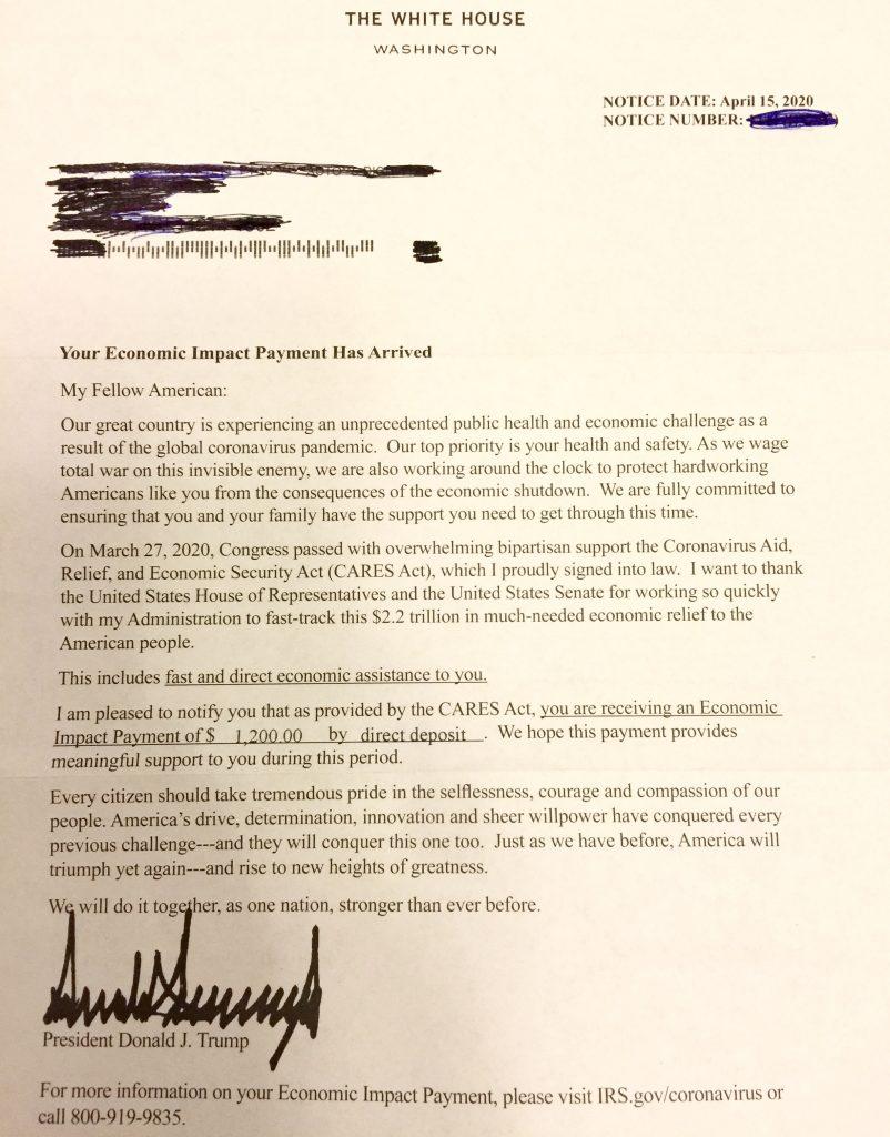 trump stimulus letter