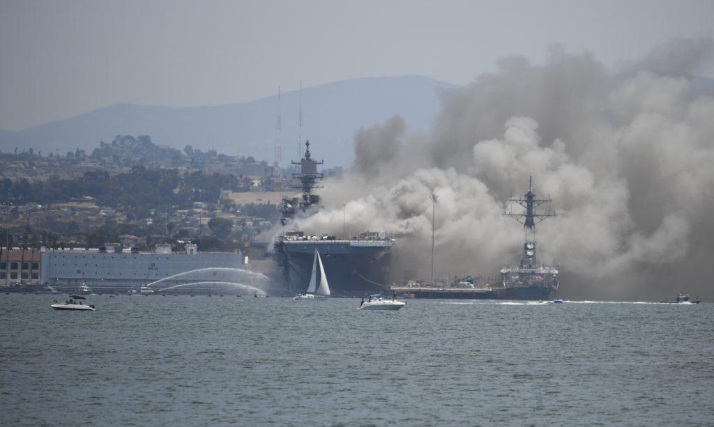 navy ship fire san diego
